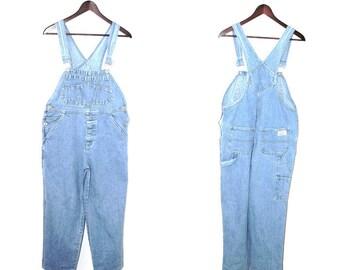 90s light wash denim overalls 1990s minimalist tapered light jean dungarees small