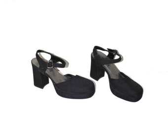 90s black platform mary janes 1990s vintage chunk heel platforms size 7