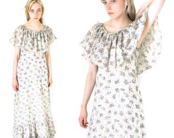 1970s floral maxi dress 70s vintage BOHO hippie dress long flowing festival dress medium