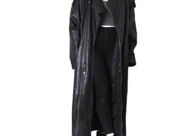 black LEATHER duster jacket 1980s vintage floor length leather cocoon coat MINIMLIST unisex long black trench jacket