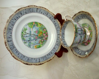 Royal Albert Luncheon 3 piece set Silver Birch Bone China, Made in England,