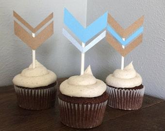 Chevron Cupcake flags - Set of 12