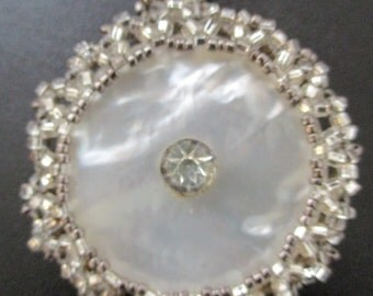 Hand Beaded Vintage Mother of Pearl and Rhinestone Button Pendant