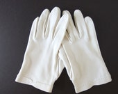 Vintage Dress Gloves - White Cotton Day Gloves, Possibly Size 7 1/2