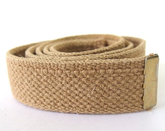 Vintage 1980's Military Belting, Tan Cotton Webbing with Capped End, No Buckle