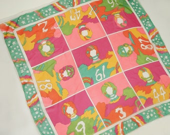 """70s Peter Max-Style Football Players Square Chiffon Scarf 26"""""""