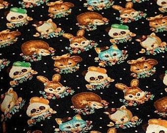 Japanese Fabric Linen Cotton Blended - Animals half yard