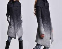 Hoarfrost - gradient woolen coat + free cotton bottoming top / asymmetrical woolen jacket / gray woolen jacket / cowl neck jacket (Y1591)