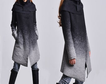 Hoarfrost - gradient woolen coat + free cotton bottoming top / asymmetrical woolen jacket / gray woolen jacket / cowl neck jacket (Y1591)