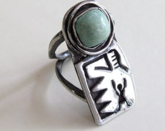 Vintage Native American sterling silver & turquoise Ring handcrafted