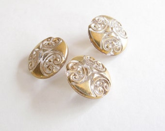 VINTAGE Glass Buttons clear & gold