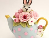 1:12 scale bunny and flowers in basket teapot.