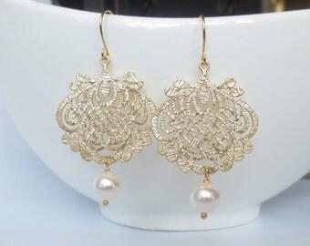 Statement Earrings, Gold and Pearl Earrings, Wedding Earrings, Bridesmaid Gift, Romantic Wedding, Rustic Wedding, Christmas Gift, Dangle
