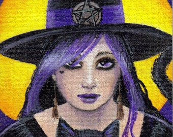 Young Witch black cat ACEO print