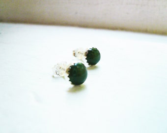 Tiny Jade Earrings - Genuine Nephrite Jade and Sterling Silver Post Earrings, Bezel Set Green Jade Earrings, 6mm studs