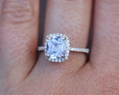 Sapphire Engagement Ring 14k Rose Gold 2.34ct Lavender Peach Cushion Sapphire Ring