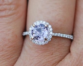 Lavender sapphire ring 1.12ct unheated sapphire halo diamond ring 14k white gold engagement ring
