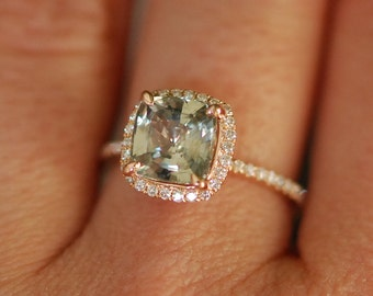 Rose Gold Engagement ring. Green Sapphire ring. 2.5ct cushion sapphire 14k RG diamond ring. Engagement Rings by Eidelprecious
