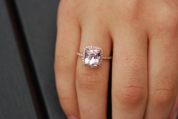 Ice Peach Sapphire Ring. 14k Rose Gold Diamond Engagement Ring. 2.37ct Square ring. Cushion sapphire ring. Engagement rings  Eidelprecious.