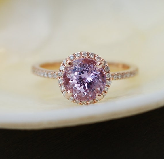 Rose gold engagement ring. 2.42ct round Peach Lavender sapphire diamond ring Mauve engagement ring 14k rose gold ring by Eidelprecious