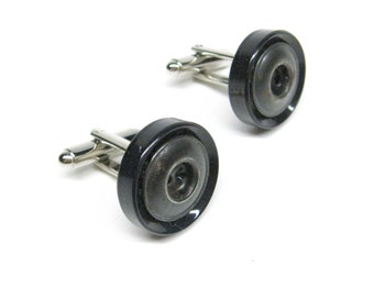Cufflinks Black and Silver Vintage Buttons