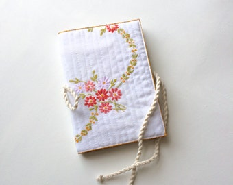 Journal cover recycled vintage embroidered cloth country #2