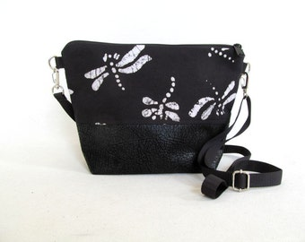ADELE Day Bag // Small Cross Body Purse // Zippered Pouch // Detachable Cross Body Strap // Dragonfly Pattern Purse