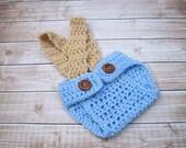 Crochet Baby Diaper Cover, Newborn Diaper Cover, Infant Diaper Cover, Boy Diaper Cover, Boy Photo Prop, Diaper Cover with Suspenders, Blue