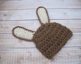 Crochet Baby Bunny Hat, Unisex Bunny Hat, Baby Hat, Baby Easter Hat, Easter Bunny Hat, Brown Bunny Hat, Baby Bunny Ears, Newborn Bunny Hat