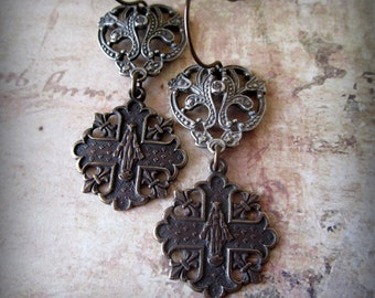 Queen of Heaven Sterling and Bronze Earrings