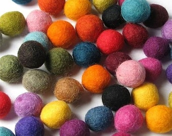 Felt Balls 1.5 cm Multi Mix Handmade Wool Felt Balls 15mm  50 pcs