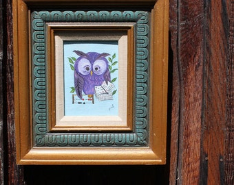 Wise Owl. Framed painting 1970s, signed pal.