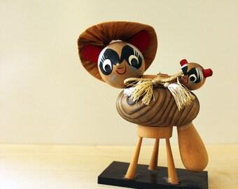 Tanuki. Vintage Japanese wood figurine.