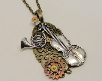 Steampunk jewelry Steampunk  pendant necklace .