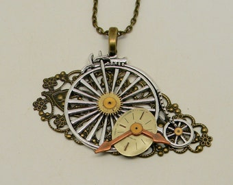 Steampunk necklace. Steampunk pendant.