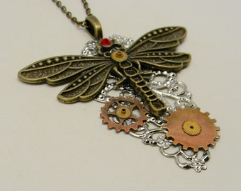 Steampunk necklace. Steampunk dragon fly pendant.