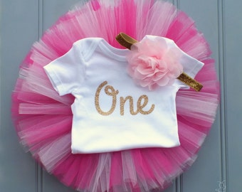 Pink and Gold First Birthday Outfit Girl, Cake Smash Outfit Girl, 1st Birthday Outfit Girl, First Birthday Tutu, 1st Birthday Tutu Skirt Set