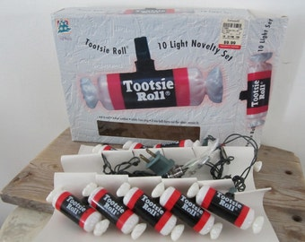 Electrics TOOTSIE ROLL light String 10 Lights Collectible Novelty Set Works Great New Old Stock As Found UnUsed Indoor Outdoor - Advertising