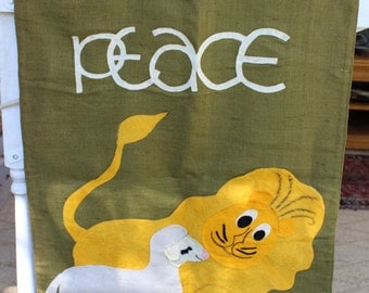 VINTAGE 70s Burlap Church Banner - Peace, Lion and the Lamb, Sunday, religious art, arts & crafts, Sunday School