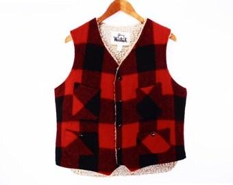 80's vintage LUMBERJACK plaid vest // wool hunting vest // red buffalo checks // men's size M // Woolrich