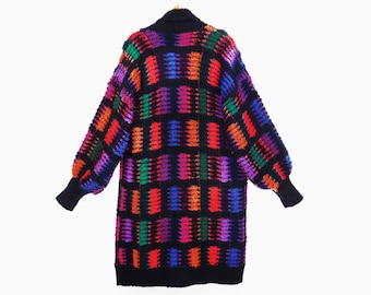 80's COCOON sweater // long cardigan // color block boucle // black multicolor slouch sweater // women's S