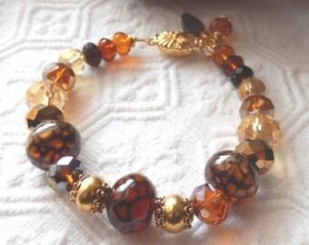 SALE.......One of a Kind 18K Gold Vermeil, Crystal and Gemstone Bracelet