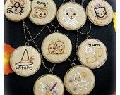 Halloween PENDANTS embroidery Pattern PDF- 9 designs necklace prim stitchery primitive pillow Pumpkin witch