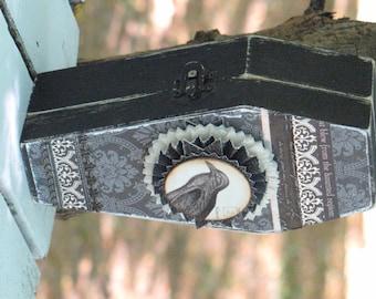 Medium Vintage Gothic Wooden Coffin Box Vampire Dracula Victorian Steampunk with Crow Raven