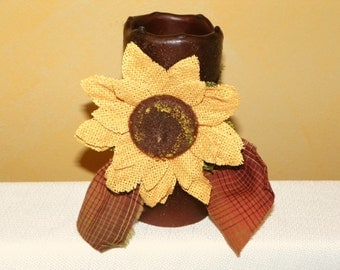 6 Inch Primitive Textured TIMER PILLAR Candles with a Barlap Sunflower, Battery Operated