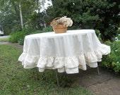 "Multi Ruffle Tablecloth READY to SHIP Handmade Ruffled Tablecloth Double Ruffle Handmade Wedding Decorations Table Decor 72"" Round"