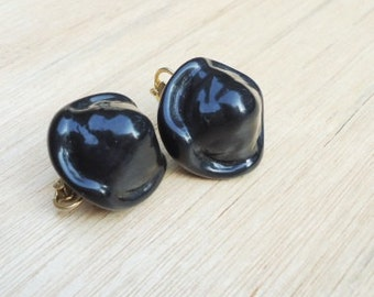 1960's RICHELIEU Earrings in Both Aqua OR Black