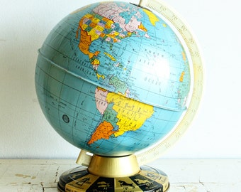 Vintage world globe - The Ohio Art Co tin globe - zodiac signs - reference globe - 9 inch - metal globe - tin globe