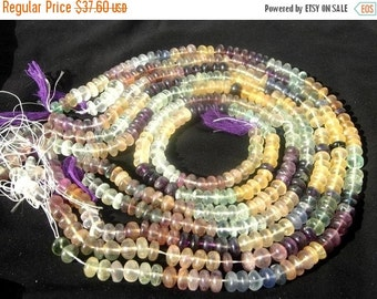 55% OFF SALE Multi Fluorite Smooth Rondelles 14 Inches strand Lagre Size - 7.5mm - 8.5mm approx