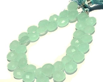 55% OFF SALE 1/2 Strand 10mm AAA Light Aqua Green Chalcedony Faceted Heart Briolettes Size 10mm approx
